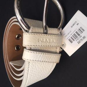 PRADA White Leather Belt